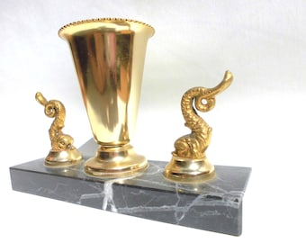 Art Deco Sculpture of Copper Dolhpins and Chalice on a Black Veined Marble Base
