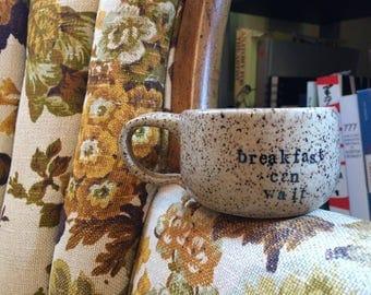 Breakfast Can Wait Speckled Clay Mug. Wheel thrown, Handmade Pottery.