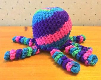 Handmade Catnip Crochet Multicolor Octopus Cat Toy