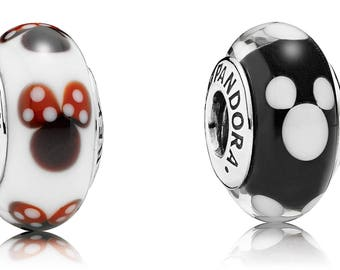 New set of 2 Pandora Classic Minnie Mouse mickey Murano Glass Bead Charm Ale 925 Disney