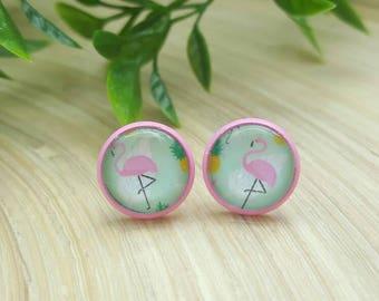 Gorgeous Flamingo Glass Cabochon Stud Earrings