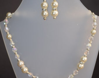AB Bicone and Pearl necklace with drop Earrings