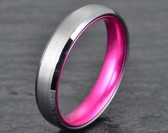 silver tungsten ring purple anodized aluminum interior mens 4mm wedding band mens wedding ring custom rings - Purple Wedding Rings