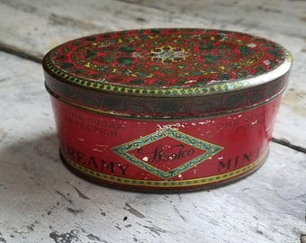 Vintage Woolworth Tin / Vintage Candy Tin / Tin Collectible / Vintage Advertising / Antique Candy Tin / Collectible / Farmhouse / Rustic /