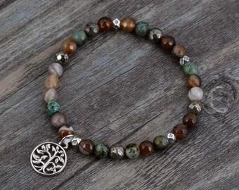 Handmade Beaded Stone Bracelet, Onyx Agate Beads Silver Tree Of life Elastic