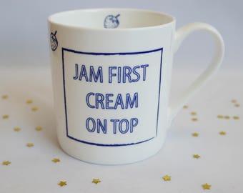 Cream Tea Mug | Cornish gift | Jam First mug | Bone China