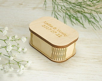 10 Wood USB box with round corners and painted lid (free filling included)