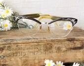 Vintage Cats Eye 12k Gold Filled Glasses ~ American Optical ~ 4-1/2 5-1/2 ~ Black Floral Etched Frame n Sides ~ Reading Glasses
