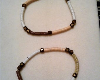Brown, Tan and White Beaded Bracelet