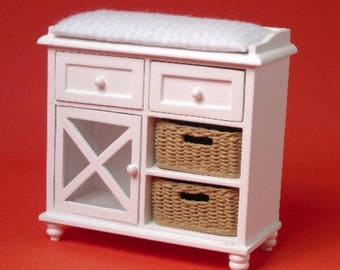 Dollhouse Miniature Ashley White Changing Table with Baskets