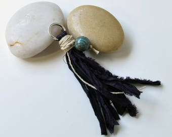 Jasper Black Sari Silk Tassel, for Grounding and Protection, Jewelry Crafts, DIY Mala, Handmade