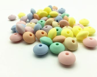 100pcs  Candy Color silicone bead wholesale BPA Free 12mm Lentil Bead DIY Safety Baby Teether Bracelets Pacifier silicone bead wholesale