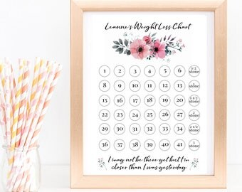 Personalised Floral Weight Loss Chart perfect for Slimming World Weight Watchers etc to track your losses