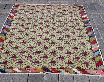 "Green Oushak Carpet, 7""x4.6""Feet,Vintage Oushak Rug,Handmade Carpet,Vintage Home,Anatolian Area Decorative Rug"