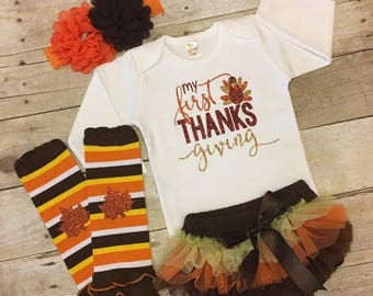 Babys First Thanksgiving outfit, newborn thanksgiving outfit, baby girl Thanksgiving outfit, turkey outfit, girls first thanksgiving outfit