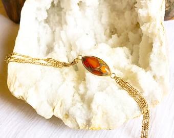 Carnelian and copper chain brass bracelet