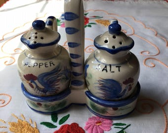 Vintage Nasco Rooster Salt and Pepper Shakers with Caddy Carrier