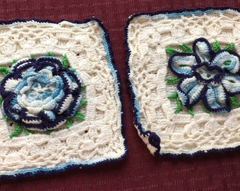 Lot of 2 Vintage Hand Crafted Crochet Pot Holders