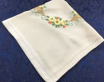 Vintage Hand Embroidered Jobella Linen Tablecloth with Yellow and Gold Flowers