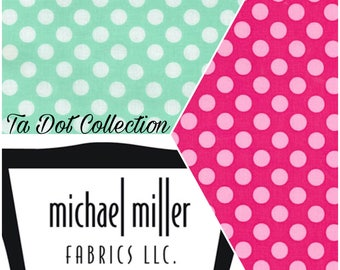 FREE GIFT with Purchase - Michael Miller Ta Dot /Pink & Mint/Cotton/Fabric/Sewing/Quilting
