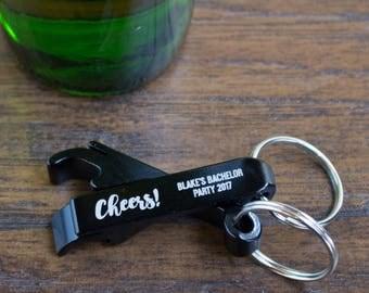 Personalized Black Aluminum Keychain Bottle Opener
