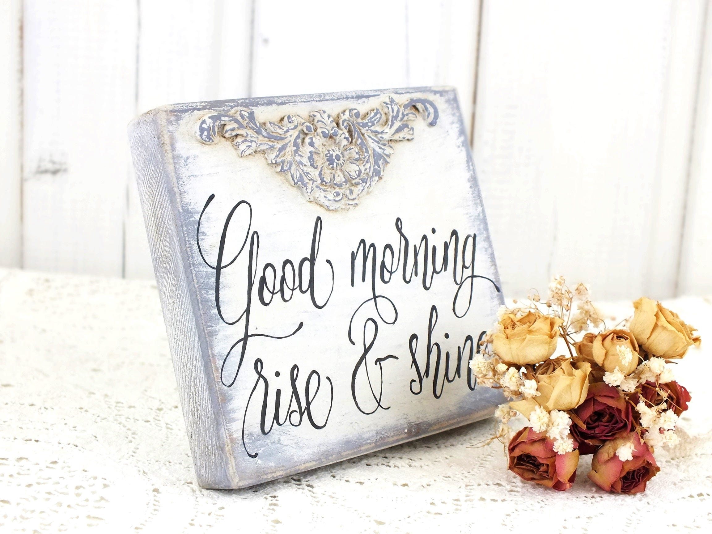 Good morning sign rise and shine Small kids room decor Motivational ...