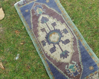 "Small Rug,Turkish small rug, Vintage Small Rug,1'6×3'7""feet, Home living, Area Rig, Pastel  colors Small Rug,Turkish Oushak Rug,"