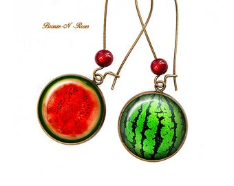 These earrings I love watermelon fruit green and Red cabochon bronze glass