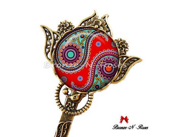 Bookmarks * Indian paisley * bronze red glass cabochon