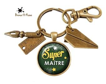 Porte clés ° Super maître ° cadeau école fin d'année bronze verre