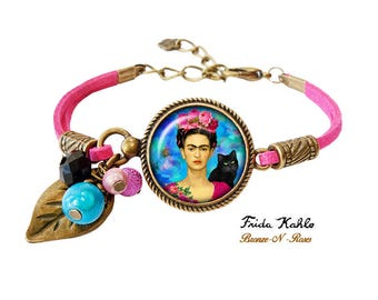 Bracelet Frida Kahlo and cat painter bronze-n-roses gift