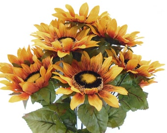 "GOLD YELLOW Sunflowers Bush 11 Artificial Silk Flowers 21"" Bouquet 3023YL"