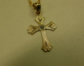 "10K Gold Religious Cross Pendant 18"" 14K Gold Filled Rope Necklace 2 Inch Extention"