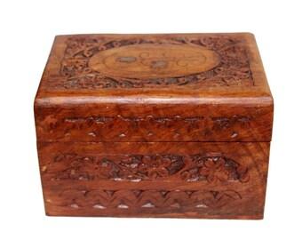 Carved Wooden Box With Brass Inlay Lid. Trinket Box. Jewellery Box. Box. Carved Box. Folk Art. Decorative Box. Treen. Treenware. Folk.