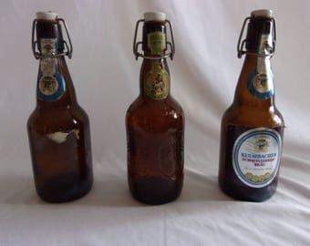 Set of 3 Vintage Decorative German and Holland Beer Bottles