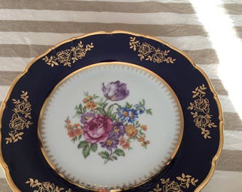 Victorian MZ  Czechoslovakian gilded flower plate & Ladies at leisure plate