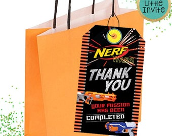 Nerf Thank You Cards // Nerf Birthday // Nerf Party // Nerf Party Tags // Nerf Birthday Invitation // Nerf War // Nerf Favor Tags