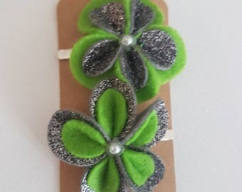 Green Flower Hair Clip - The Penny