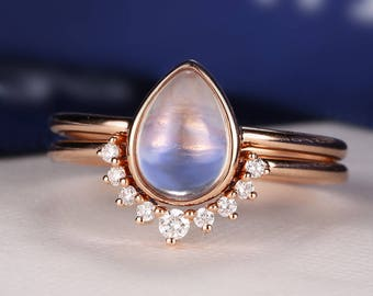 Moonstone Engagement Ring Rose Gold Vintage Delicate Minimalist Diamond Wedding Bridal jewelry Simple Pear Shaped Cut Stacking Alternative