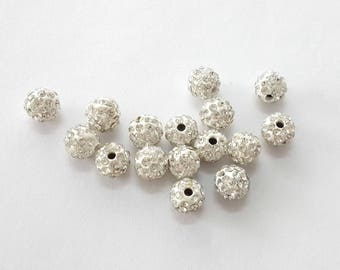 8mm Shamballa Beads Pave Clear Crystal Stone Disco Ball Loose Rhinestone Spacer Findings 10pcs