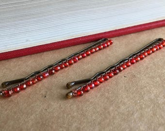 Cranberry Champagne Bobby Pins