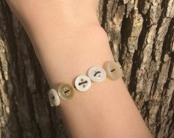 White Stretchy Button Bracelet
