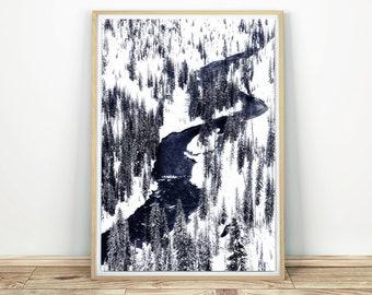 Winter Forest River - Modern Wall Art, Scandinavian Print, Winter Landscape, Winter River Print, Snow Print Decor, Large Wall Art