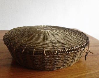 Vintage basket - France - vintage gold tone