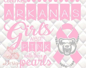 Central Arkansas Bears Pink and Pearls - Breast Cancer Awareness - SVG, Silhouette studio and png bundle