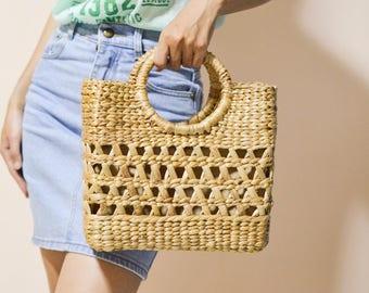 Beach bag / Straw bag Weaving seagrass top handle bag, handmade bag , boho bag, straw purse square bag