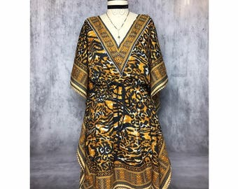 Mixed Media ANIMAL Tribal Print LIGHT WEIGHT Adjustable Spring Summer Beach Vintage Dress