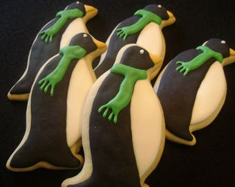 Penguin Cookies | Custom Decorated Christmas cookies | Holiday Sugar Cookie