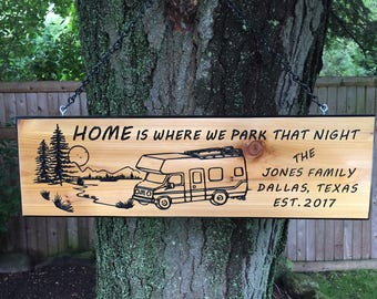Personalized Custom  Carved Cedar Wood Camping RV Rustic Family and Last Name Sign