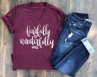 Fearfully and Wonderfully Made - Christian Tshirt - Christian Tee - God is Good - Jesus Saves - Christian gift ideas - Psalm 139